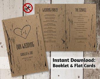 Printable Wedding Program Template - Folded Program - Rustic Tree Wood Carved Hearts & Initials | PDF Instant Download Digital File Booklet