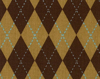 SALE 5.99 YARD -  Brown and Blue Argyle 100% fabric 60 in Wide fabric sale fabric finders