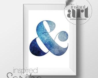 Ampersand in textural blue instant printable digital download