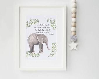 Dr Seuss Elephant Art Print, art print, elephant print, ideal for elephant lovers, dr seuss, nursery print, ideal gift for new baby