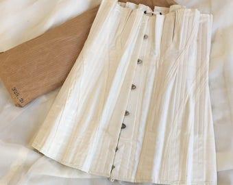 Antique 1910's Edwardian Corset    Crisp White Cotton with Satin Underbust & Metal Stays   De Milo   Size 24
