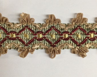 7 yard piece Flat Tape trim two inch wide with scallop edge blue green burgundy red and antique gold, item B31