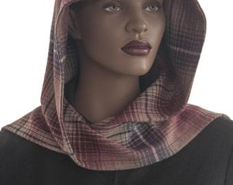 Stripes Wine Tan Black Plaid Wool Blend Hooded Scarf Hood Wrap Scarf