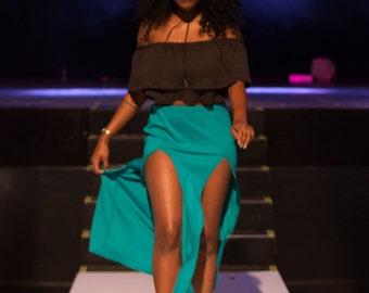 Double Front Slit Maxi Skirt
