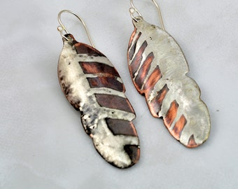 SOLD - BACKORDER - Mixed Metal Copper and Silver Solder Feather Earrings