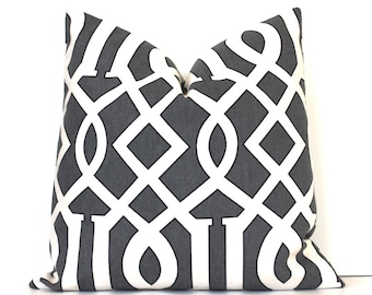 Charcoal Grey Trellis Designer Pillow Accent Throw Cushion Cover hollywood regency imperial modern geometric cream lattice gray black