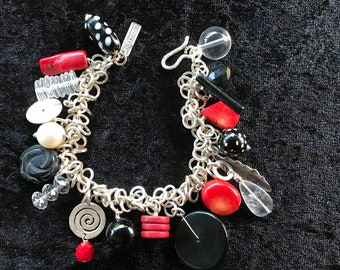 Unique RILEY BURNETT Silver, Red Coral and Glass bead Boho CHARM bracelet