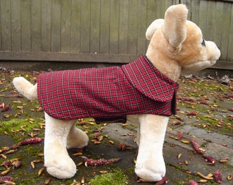 Dark Red Plaid Dog Coat- Size XX Small 8 -10 Inch Back Length - Or Custom Size