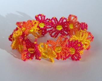 Beaded Lei Bracelet - Red and Orange