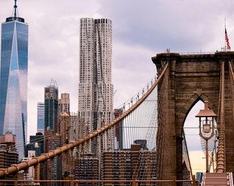 "New York City Photography, ""East River View"" Print NYC Brooklyn Bridge Freedom Tower Wall Art Prints"