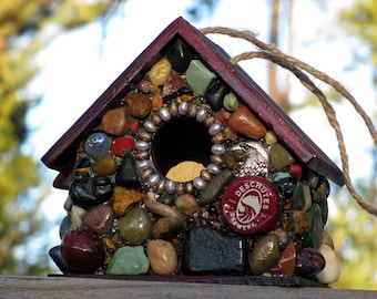 Fathers Day Mosaic Birdhouse, gift for him, Deschutes Brewery, micro brew, made in Oregon, rustic birdhouse, under 50, beer art