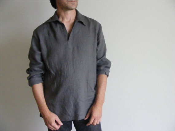 Mens Linen Shirt / Wedding Linen Shirt / Beach Shirt /Yoga Shirt / Pajamas Shirt / Lounge Shirt / Flax Shirt Mu6yvlK