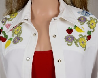 Vintage 1960's Women's Sir James 2 Piece Butterfly Fruit Flowers Embroidered Appliqued Country Western Music Rock Star Pant Suit