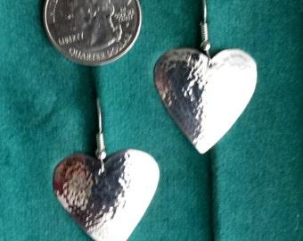Hammered sterling silver heart shape earrings