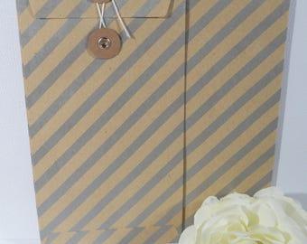 Set of two envelopes kraft Pinstripe American