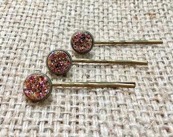 Rose Gold Bobby Pin Set, Druzy Hair Pin, Metallic Hair Pin, Rose Gold Hair Pin, Faux Druzy Hair Pin, Gemstone Hair Pin, Druzy Bobby Pin