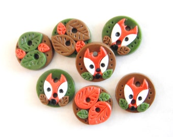 Button Fall Fox and Leaves handmade polymer clay buttons ( 7 )