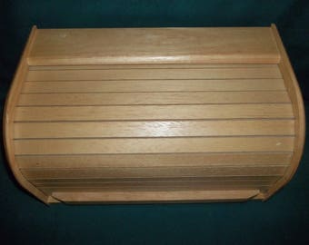 Retro 1980s Two Loaf Bread Box, Blonde Wood, Roll Top Bread Box