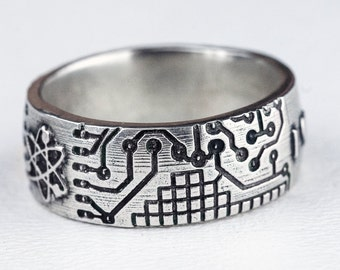 Circuit Board Ring Atom Fathers Day Band Jewelry Sterling Silver