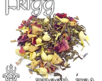 Frigg Devotional Tea - loose leaf green tea, apple flower tea, Frigga, Asgard Queen, Mother Goddess, Norse Goddess, Viking mythology