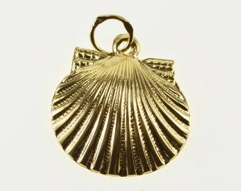 10K Scallop Sea Shell Stylized Ocean Motif Charm/Pendant Yellow Gold