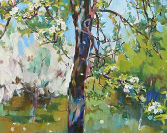 Impressionist tree landscape, oil landscape, flowering painting, green painting, modern painting, tree painting, blooming garden
