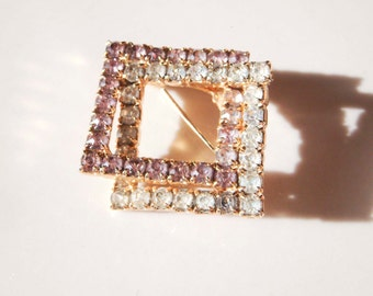 Vintage Double Square Gold Brooch with Pink and Clear Rhinestones