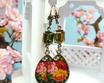 Colorful Flower Earrings, Floral Dangle Earrings, Olive Green Crystals, Calico Print Earrings, Yellow Floral Earrings, Bronze Dangles, E3909