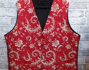 """Men's Wedding Vest, Men's Red/Gold Brocade Waistcoat, Men's Red/Gold Brocade Vest, Brocade Vest, Brocade Waistcoat, 46""""-48"""" Chest."""