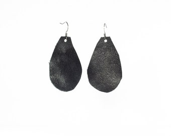 Leather Raindrop Earrings - Medium - Black