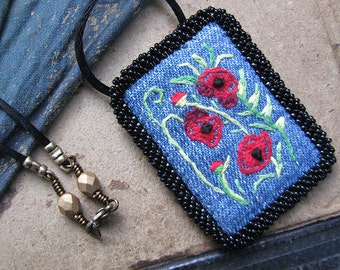 Red Poppy Pendant, Embroidered Fiber Art Necklace, Recycled Cotton Denim, Black Cord Necklace