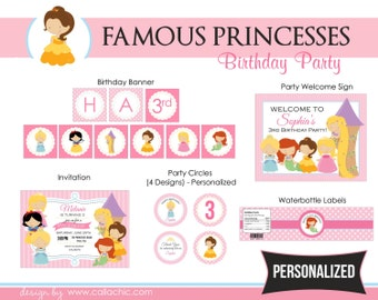 Princesses Birthday Party Package PRINTABLE for Girls - Personalized Famous Classic Disney Cinderella Belle Snow White Ariel Rapunzel Aurora