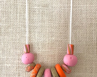 Pink and gold handmade polymer clay chunky necklace, 60cm polyester cord with breakaway clasp
