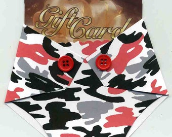 Baby Shower Gift Card Holder - Baby Congratulations Card - Boy Gift Card - Gift Card Enclosure - Red and Black Camo print - Prize