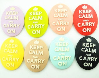 12 pcs of resin cameo keep calm and carry on you can choose the color