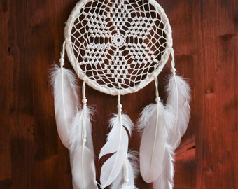 Dream Catcher - With White Crochet Web and Pure White Feathers - Boho Home Decor, Nursery Mobile