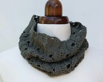 Crochet lacy cowl in grey green alpaca and merino, crochet neck warmer, infinity scarf, winter accessory