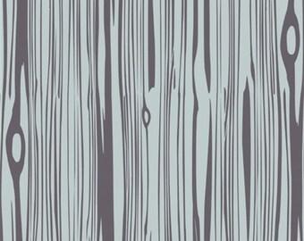 Camp Modern Faux Bois Shadow Organic Cotton, Gray Woodgrain Fabric