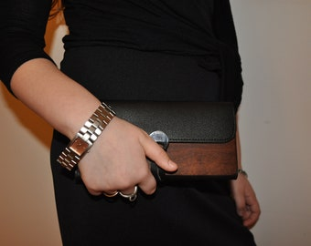 wood leather woman wallet
