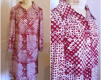 Seventies red and white patterned vintage shirtdress // plus size xl xxl 18 20 22 graphic pattern shirt dress