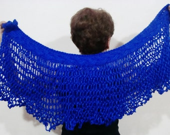 Cobalt Blue Wedding Capelet Shawl Hand Knitted Loose Knit