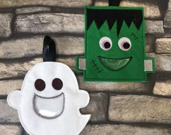 Machine embroidery design, Halloween set, 4x4 hoop, ghost, frankenstein, ITH, in the hoop, candy bag, treat holder