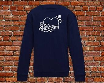 Mom sweater, heart mom, I love mom sweater, tattoo sweater, classic tattoo art, old school sweater, hipster gift, gift tattoo lover