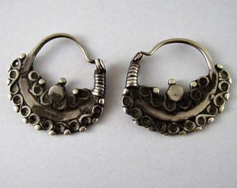 Antique Afghan silver hoop earrings