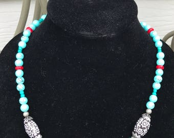 Silver and Teal Beaded Necklace