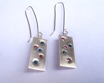 Modern Retro Earrings Sapphires and Rubies