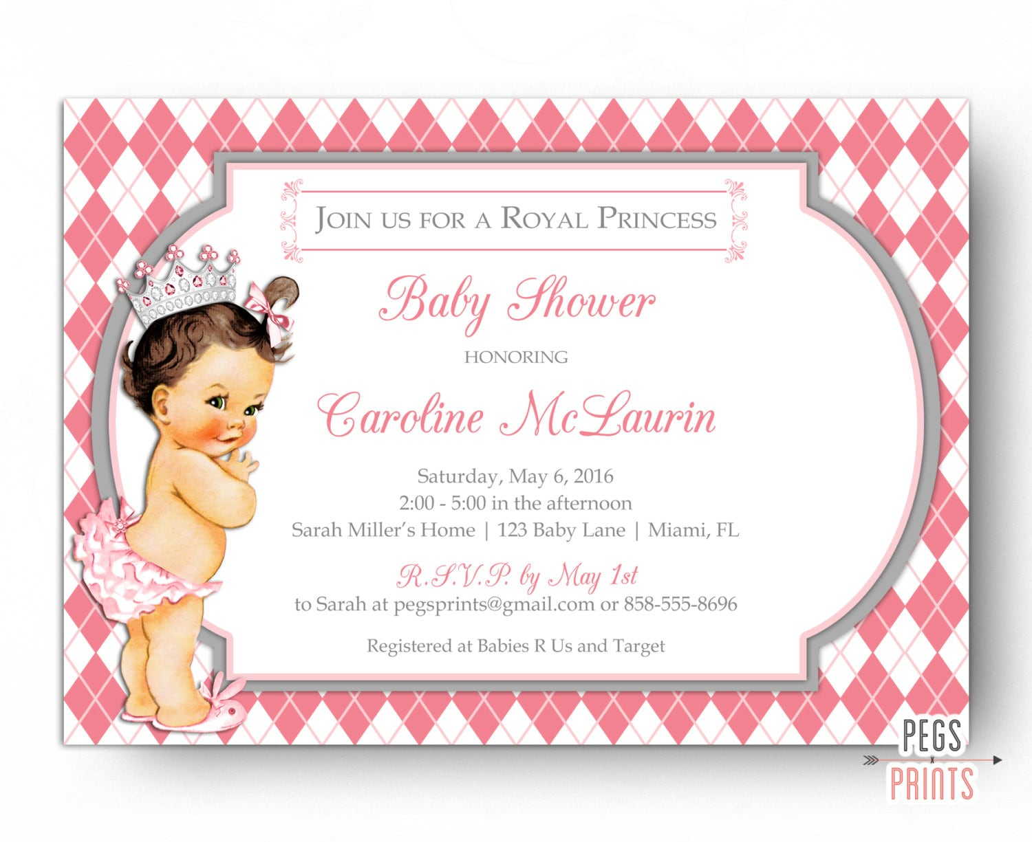 Princess Baby Shower Invitation Girl PRINTABLE Royal