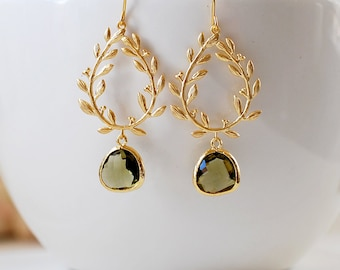 Dark Olive Green Gold Leaf Wreath Dangle Earrings, Olivine Wedding Jewelry, Laurel Wreath earrings, Chandelier Earrings, gift for mom wife