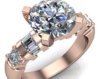 Isla Round Moisanite 4 Prong Center 4 Diamond Side Engagement Ring