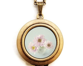 The Loveliest of Days - Pastel Pink Flowers Photo Locket Necklace